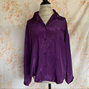 Victoria's Secret Retro Purple Silky Button Up S
